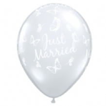 Wedding Balloons Married Butterflies (Clear) - 11 Inch Balloons 25pcs